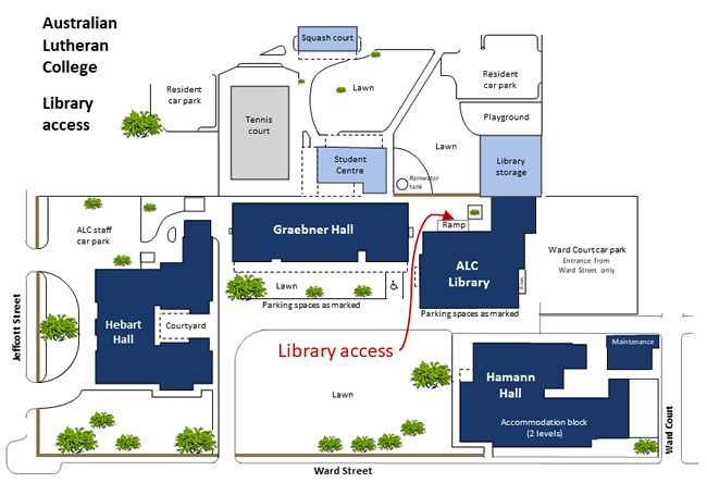 ALC campus map library access